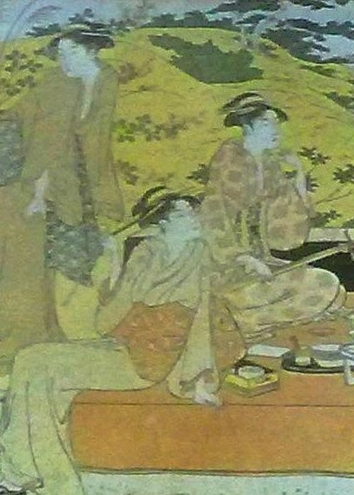 Three Greeting Card featuring the painting Japaneese Women by Unique Consignment