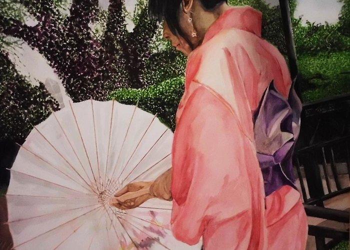 Japanese Base Greeting Card featuring the painting Japanese Based by Kodjo Somana