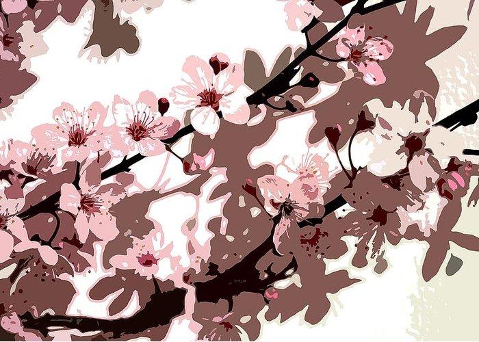 Climbing; Creeper; Flowers; Pink; Flower; Cherry; Cherries; Climb: Japanese Blossom Greeting Card featuring the painting Japanese Blossom by Sarah O Toole