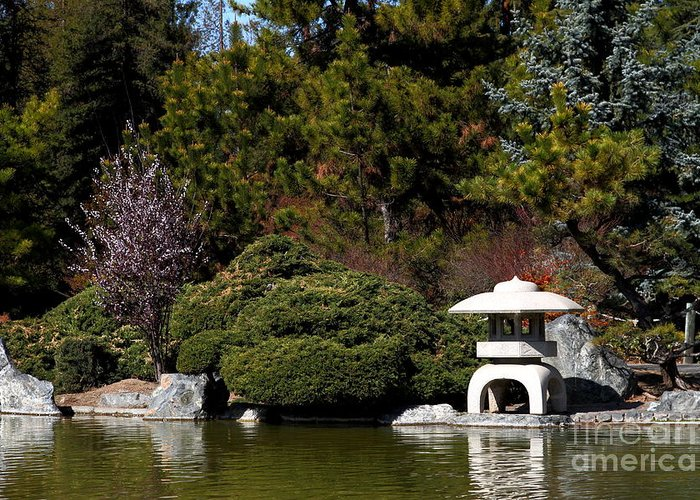 Landscape Greeting Card Featuring The Photograph Japanese Friendship Garden  . San Jose California . 7d12780 By