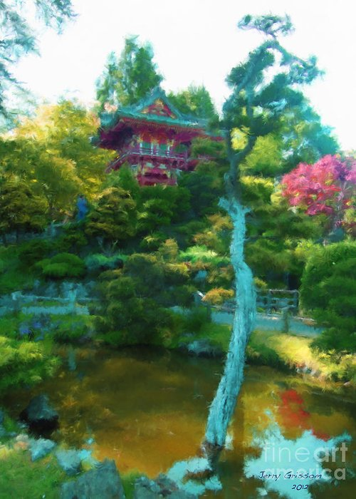 San Francisco Greeting Card featuring the painting Japanese Tea Garden Temple by Jerry Grissom