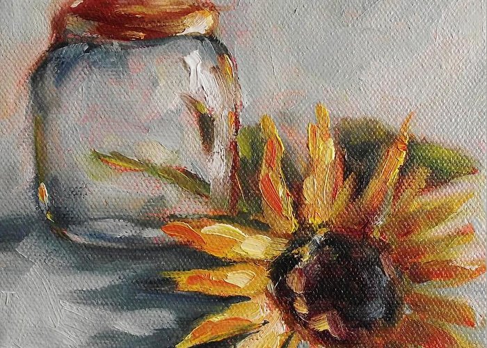 Sunflower Greeting Card featuring the painting Jar Head by Angela Sullivan