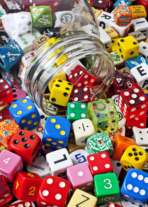 Jar Dice Games Play Numbers Gamble Greeting Card featuring the photograph Jar Spilling Dice by Garry Gay