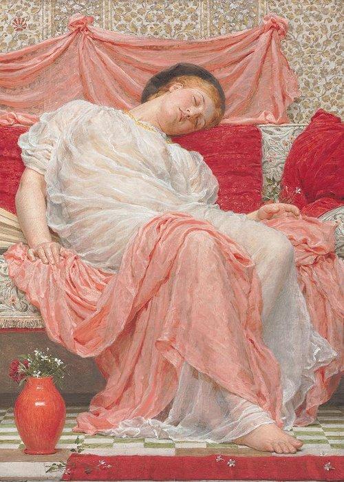Jasmine (oil On Canvas) Female; Sleeping; Asleep; Resting; Pink; Drapery; Cushions; Vase; Flowers; Pre-raphaelite; Woman Greeting Card featuring the painting Jasmine by AJ Moore