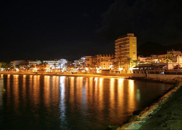 Javea Greeting Card featuring the photograph Javea Port At Night by Gaile Griffin Peers