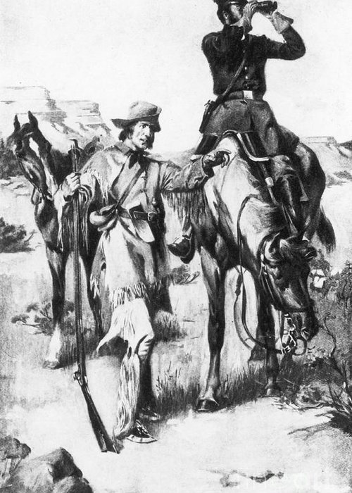 History Greeting Card featuring the photograph J.c. Fremont And His Guide, Kit Carson by Photo Researchers