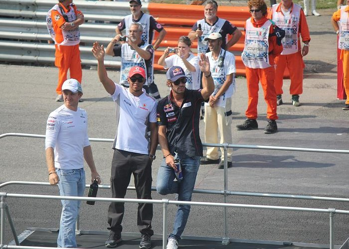 Jean-eric Vergne Greeting Card featuring the photograph Jean-eric Vergne Lewis Hamilton And Nico Rosberg by David Grant