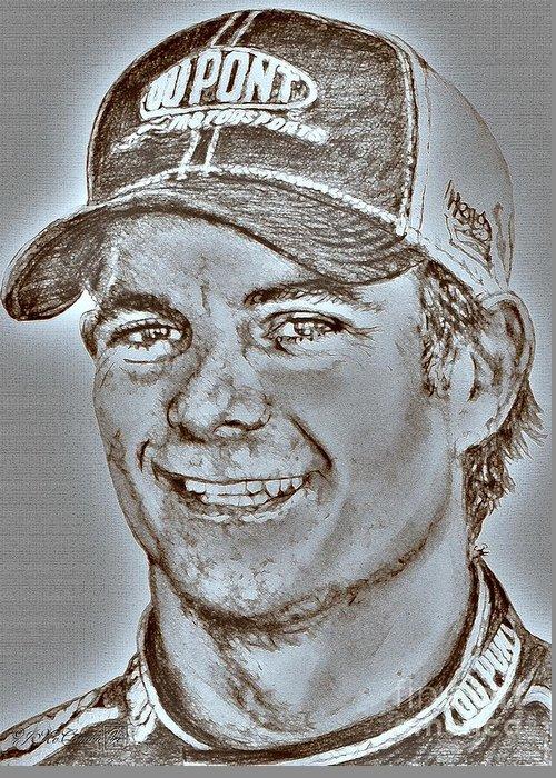 Jeff Gordon Greeting Card featuring the digital art Jeff Gordon In 2010 by J McCombie