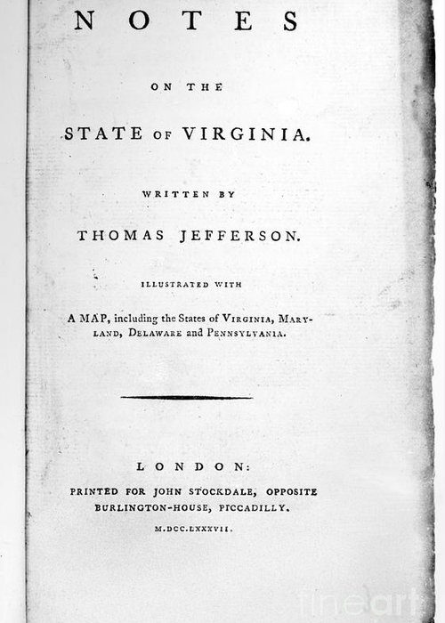 1782 Greeting Card featuring the photograph Jefferson: Title Page, 1787 by Granger