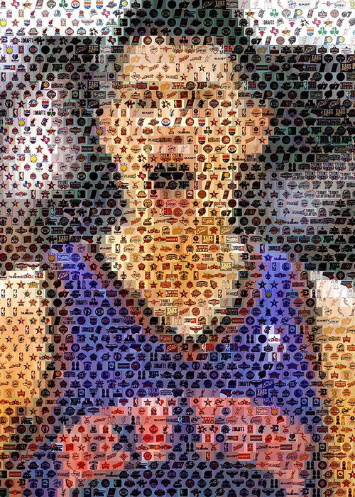 New York Greeting Card featuring the digital art Jeremy Lin Mosaic by Paul Van Scott