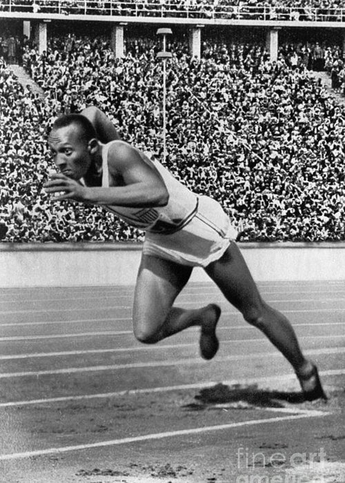1936 Greeting Card featuring the photograph Jesse Owens (1913-1980) by Granger