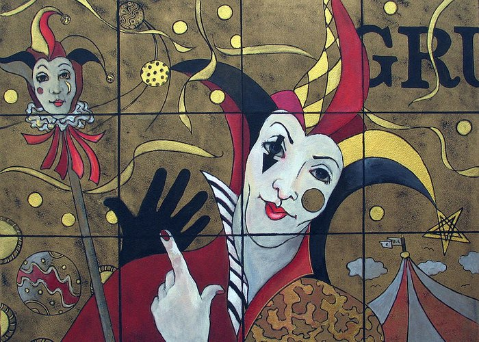 Susanne Clark Greeting Card featuring the painting Jester In Red by Susanne Clark