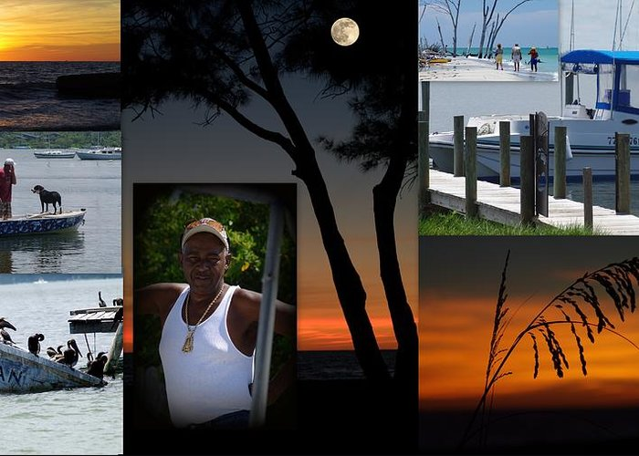 Man Ocean Boats Water Sunsets Pelicans Shipwreck Dog Water Birds Sea Grass Coast Floria Greeting Card featuring the photograph Jesus by Becky Arvin