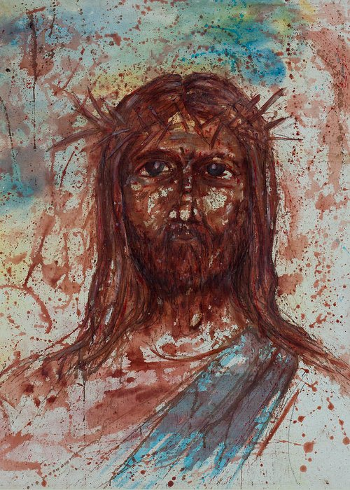 Art Greeting Card featuring the painting Jesus Christ by Thomas Lentz