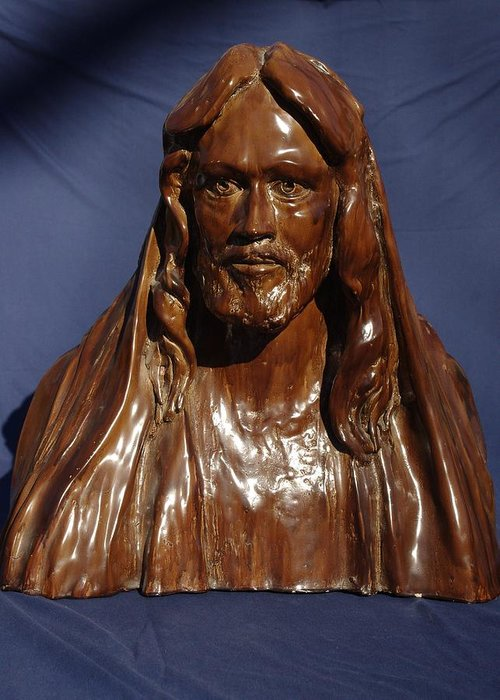 Sculpture Greeting Card featuring the sculpture Jesus Of Nazareth by Rick Ahlvers