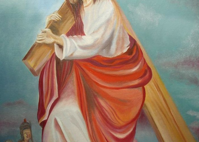 Jesus Greeting Card featuring the painting Jesus by Prasenjit Dhar