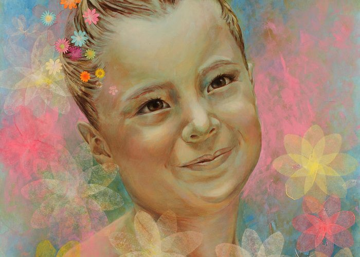 Portrait Greeting Card featuring the painting Joana's Portrait by Karina Llergo