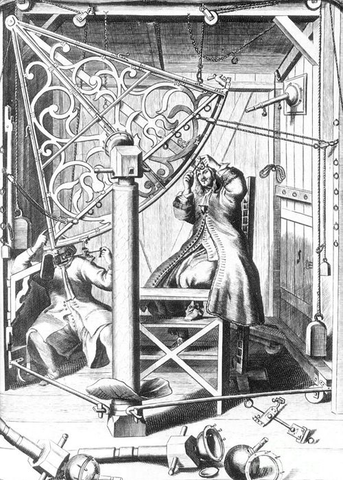 Science Greeting Card featuring the photograph Johannes Hevelius And His Assistant by Science Source
