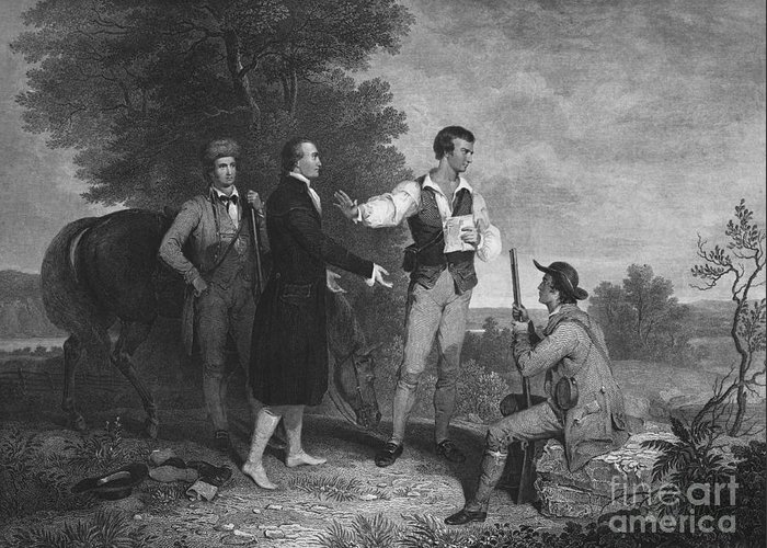 B&w Greeting Card featuring the photograph John Andre by Photo Researchers