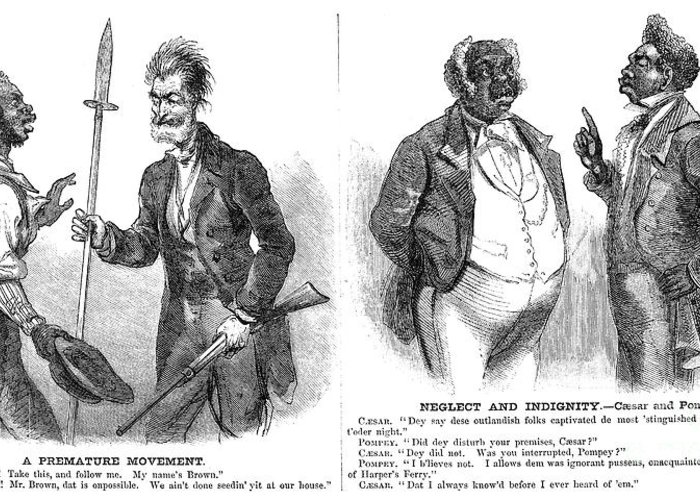 1859 Greeting Card featuring the photograph John Brown Cartoon, 1859 by Granger