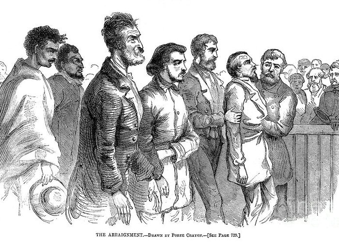 1859 Greeting Card featuring the photograph John Brown Trial, 1859 by Granger