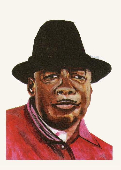Portraits Greeting Card featuring the painting John Lee Hooker by Emmanuel Baliyanga