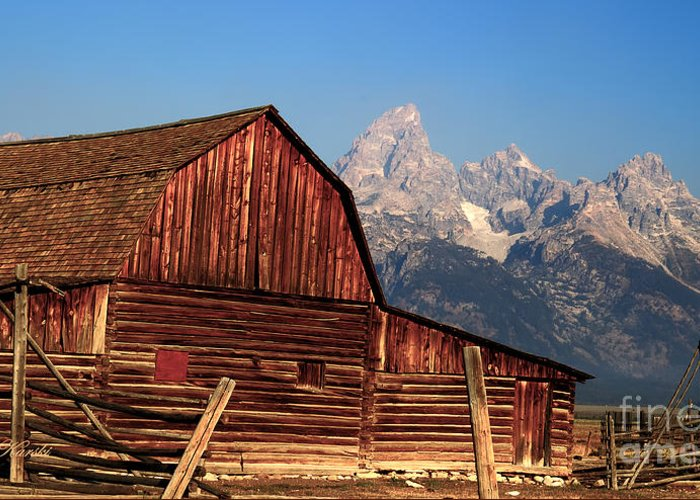 Grand Tetons Greeting Card featuring the photograph John Moulton Barn by Sue Karski