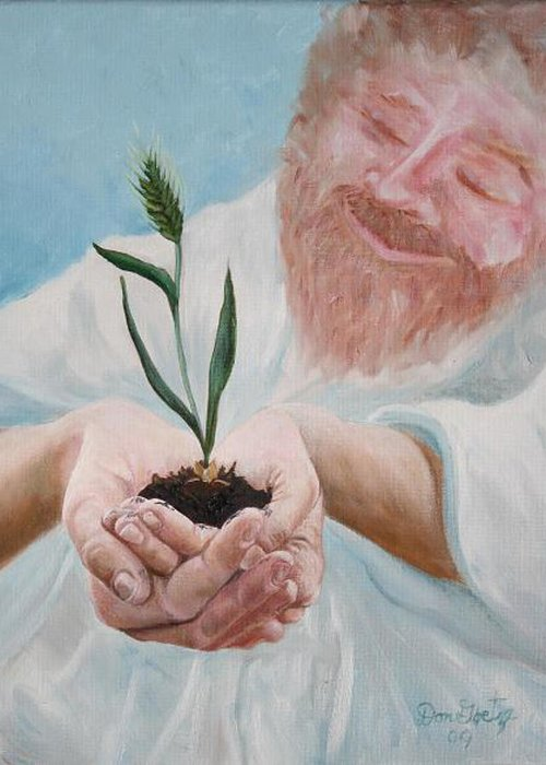 Biblical Greeting Card featuring the painting John Twelve Twenty-four by Don Goetze