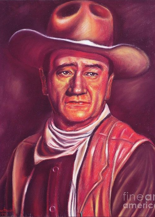 Marion Mitchell Morrison (born Marion Robert Morrison; May 26 Greeting Card featuring the painting John Wayne by Anastasis Anastasi