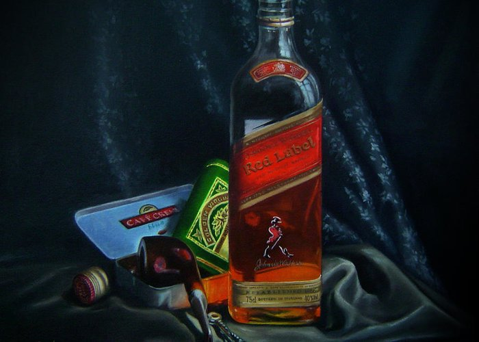 Wine Greeting Card featuring the painting Johnnie Walker by Epifanio jr Mendoza