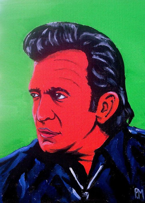 Johnny Cash Greeting Card featuring the painting Johnny Pop by Pete Maier