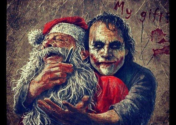 Joker Christmas.Joker Santa Xmas Greeting Card