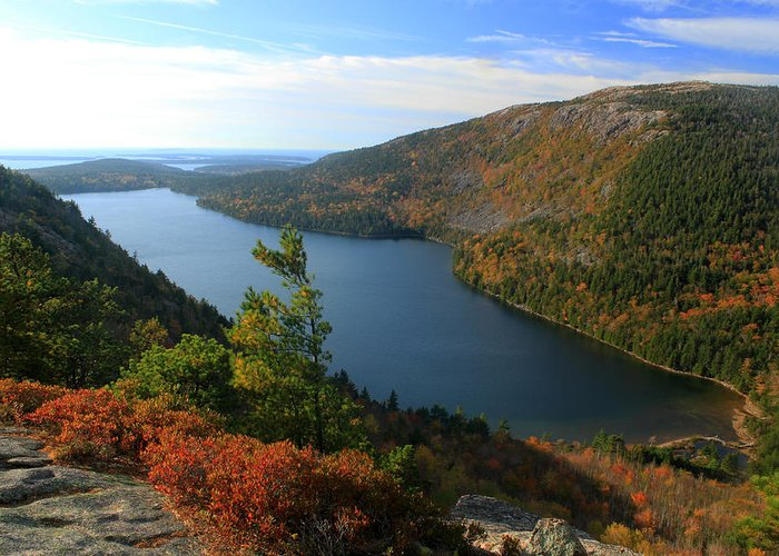 national Park acadia National Park Autumn Foliage jordan Pond bubble Mountain Greeting Card featuring the photograph Jordan Pond In Autumn From North Bubble Acadia National Park by John Burk