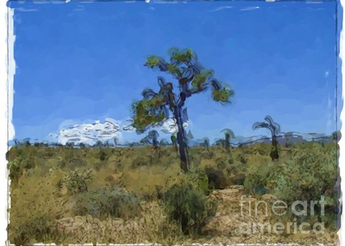 Landscapes Greeting Card featuring the painting Joshua Tree - California by Franck Guarinos