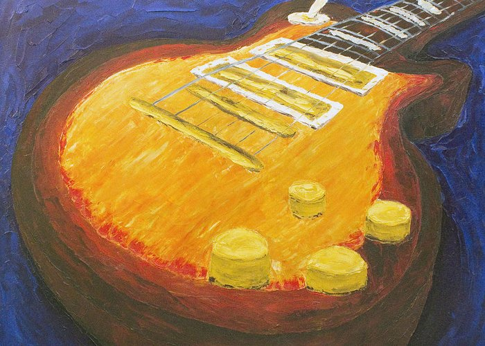 Guitar Greeting Card featuring the painting Joy Of The Firstborn by Beth Lenderman