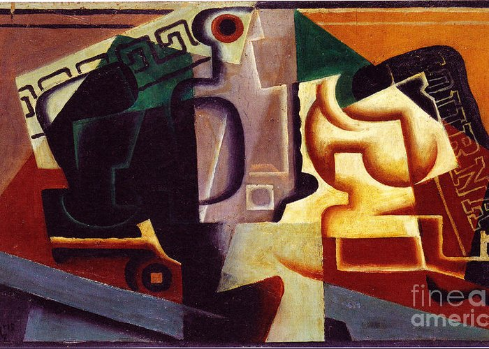 Composition Paintings Greeting Card featuring the painting Juan Gris Glas Und Karaffe by Pg Reproductions