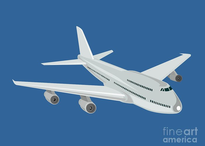 Commercial Greeting Card featuring the digital art Jumbo Jet Plane Retro by Aloysius Patrimonio