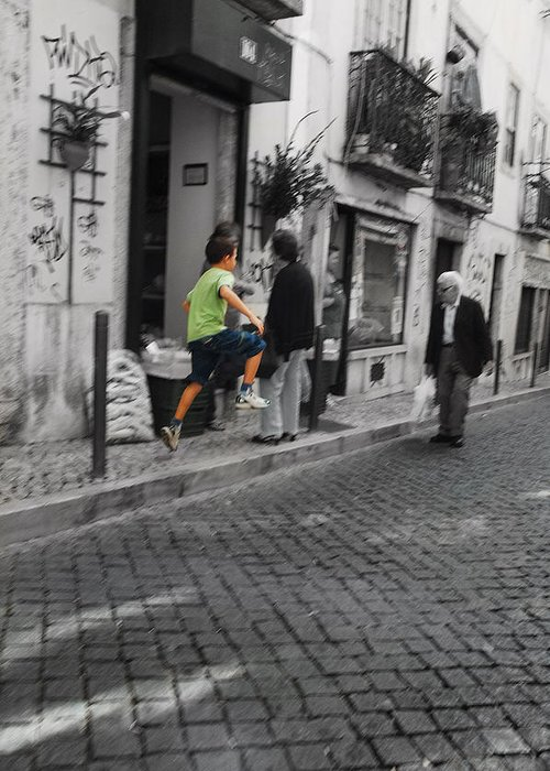 Lisbon Greeting Card featuring the photograph Jump by Luis Esteves
