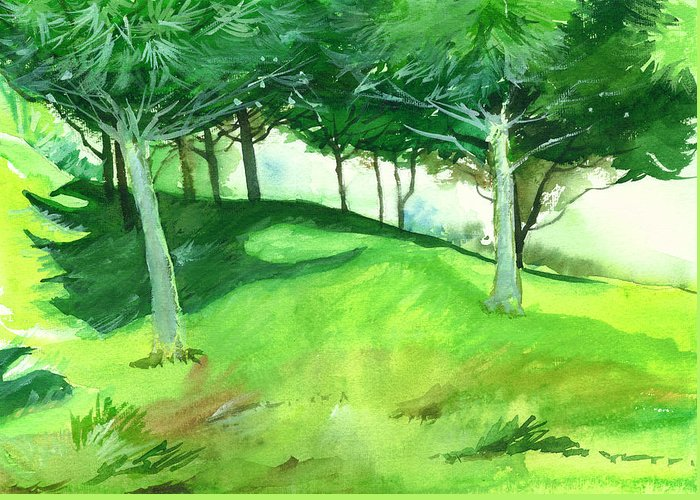 Nature Greeting Card featuring the painting Jungle 2 by Anil Nene