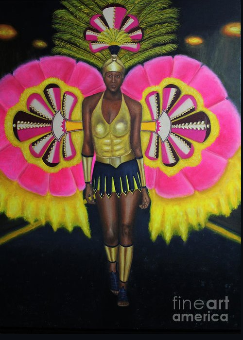 Andros Greeting Card featuring the painting Junkanoo Androsia by Danniel Gaitor