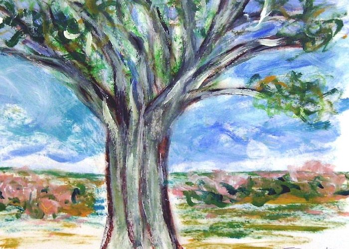 Nature Greeting Card featuring the painting Just a tree by Joseph Ferguson