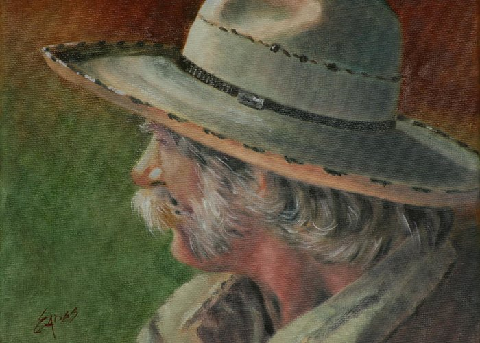 Cowhand Greeting Card featuring the painting Just an Old Cowhand by Linda Eades Blackburn
