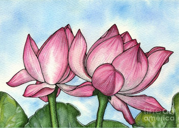 Lotus Greeting Card featuring the painting Just Breathe by Nora Blansett