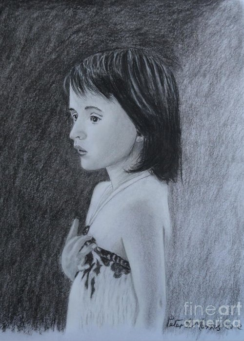 Girl Greeting Card featuring the drawing Just Thinking by Peter Morris