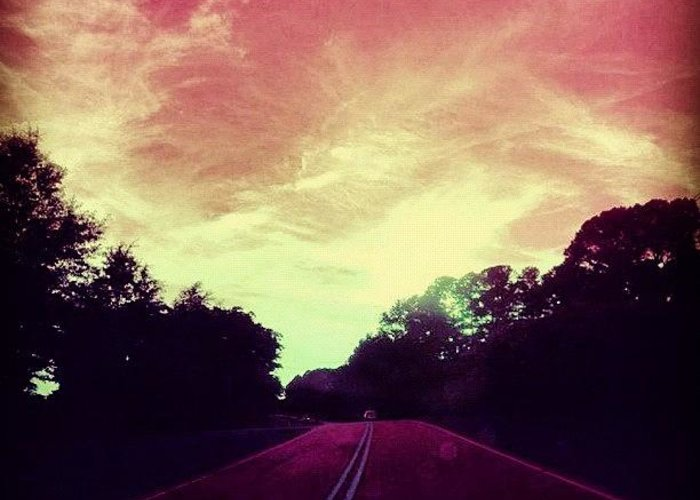 Summer Greeting Card featuring the photograph #justdriving #colourful #sky #road by Katie Williams