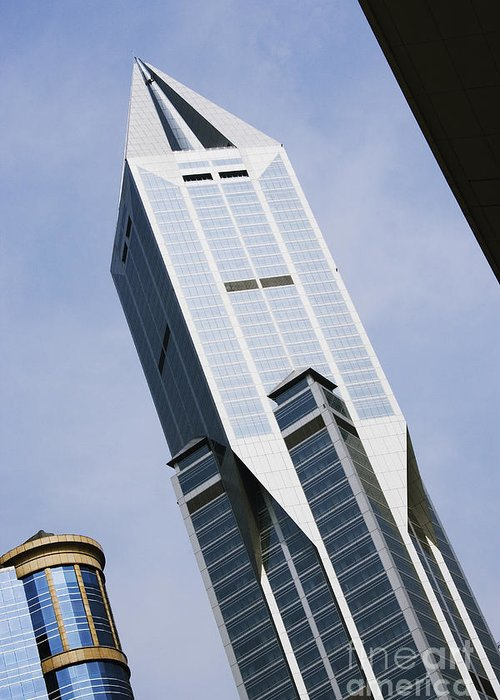 Architectural Detail Greeting Card featuring the photograph Jw Marriott Tower In Downtown Shanghai by Jeremy Woodhouse