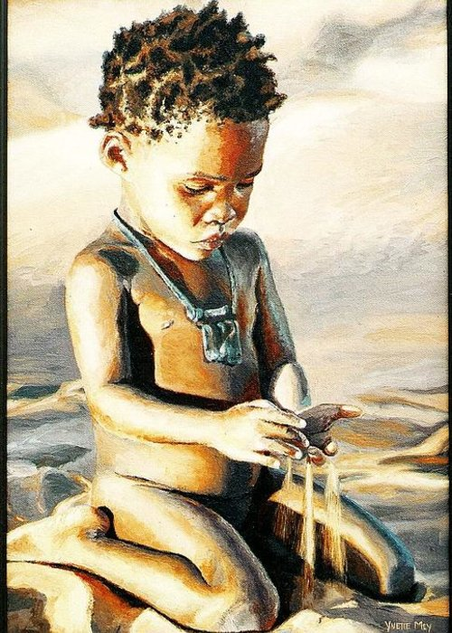Little Boy Greeting Card featuring the painting Kalahari Little Boy by Yvette Mey