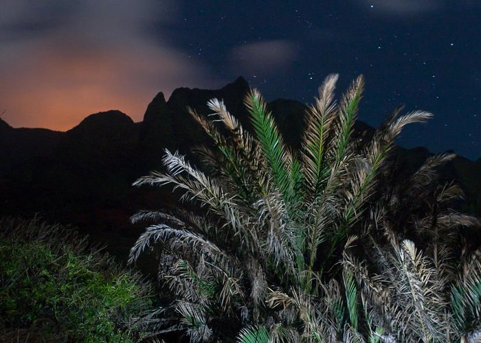 Kauai Greeting Card featuring the photograph Kalalau Mountains At Night by Lannie Boesiger