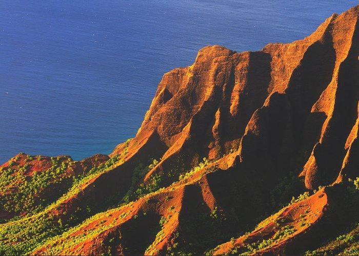 Kalalau Greeting Card featuring the photograph Kalalau Valley Sunset In Kauai by Hegde Photos