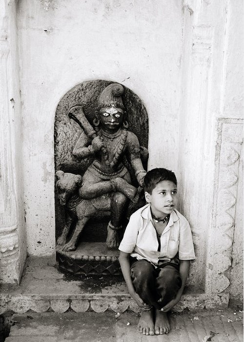 Asia Greeting Card featuring the photograph Kali In Benares by Shaun Higson